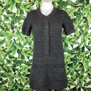 BCBGMAXAZRIA Gray Knit Button Front Tunic